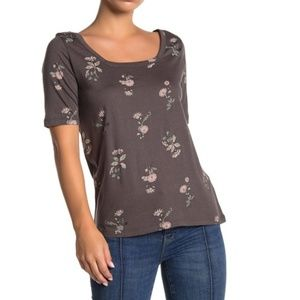Susina Grey Square Neck Elbow Sleeve T-Shirt
